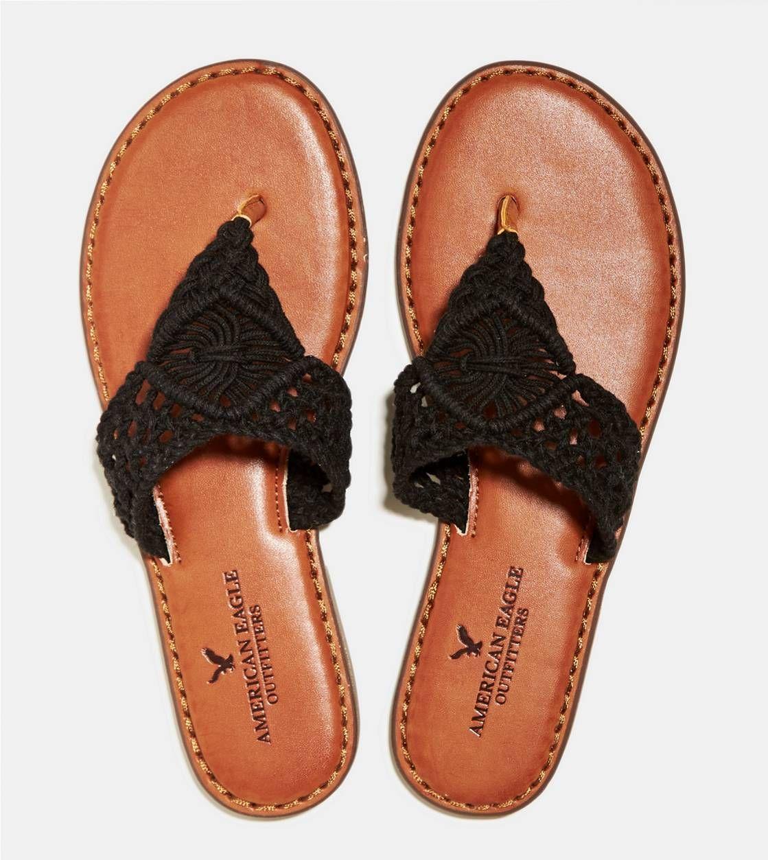 Black Aeo Macrame Thong Sandal American Eagle Outfitters