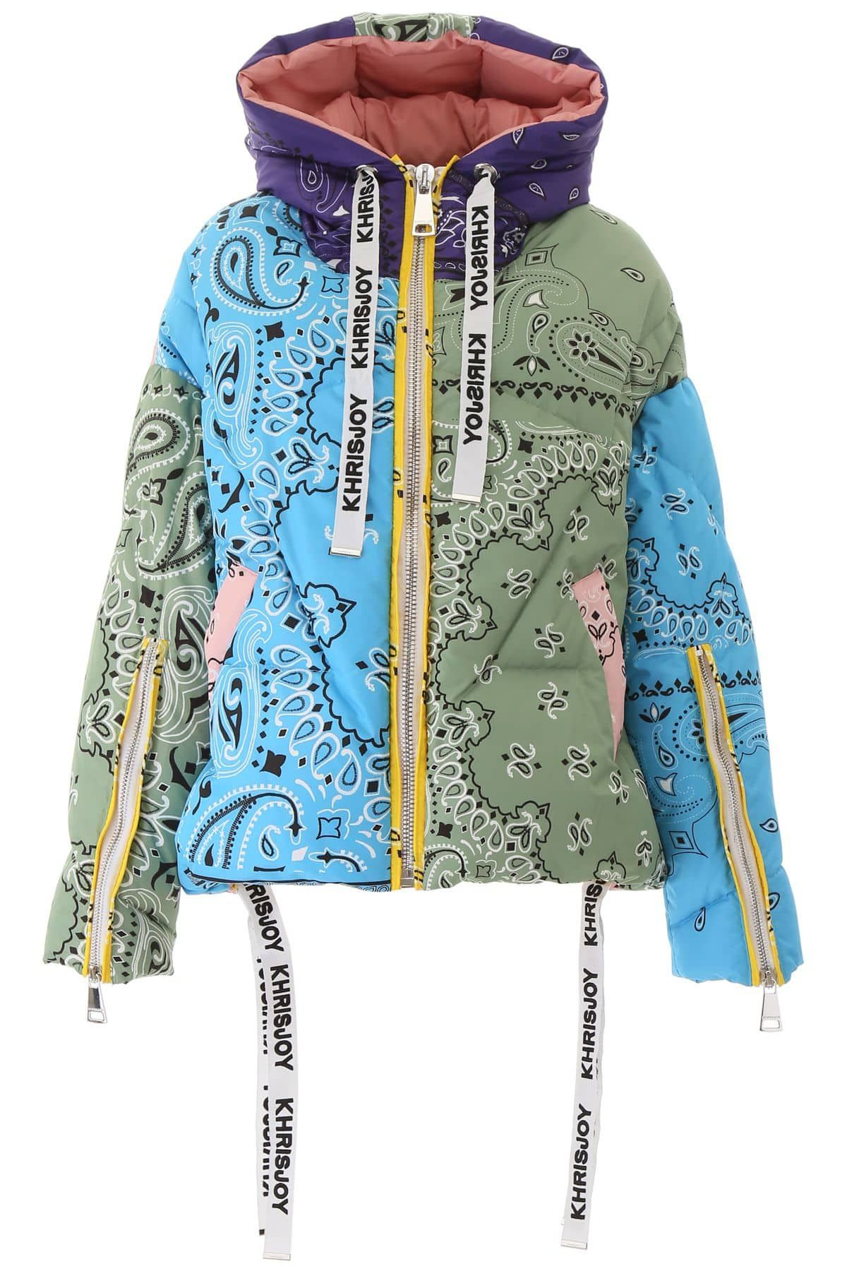 Khrisjoy Bandana Khris Puffer Jacket In 2020 Puffer Jackets Jackets Beige Pants
