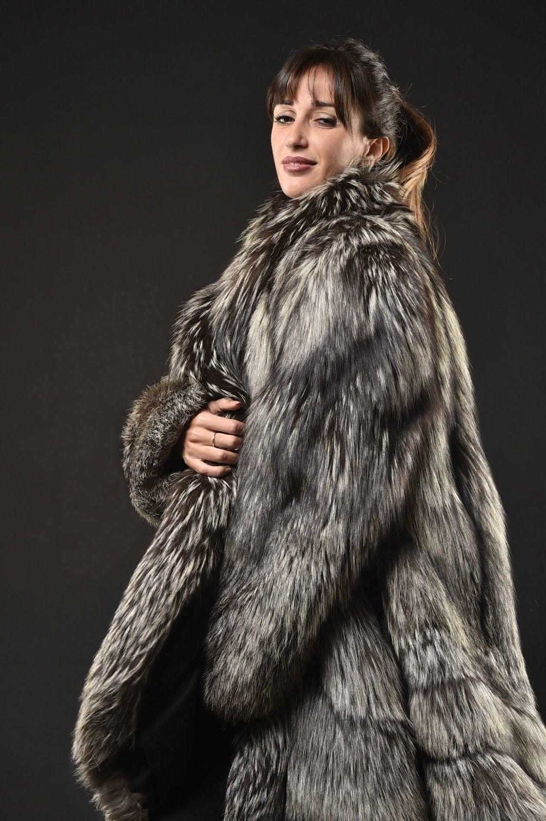 silver fox fur coat manteau pelisse fourrure renard argent pelliccia volpe ebay fur 16. Black Bedroom Furniture Sets. Home Design Ideas