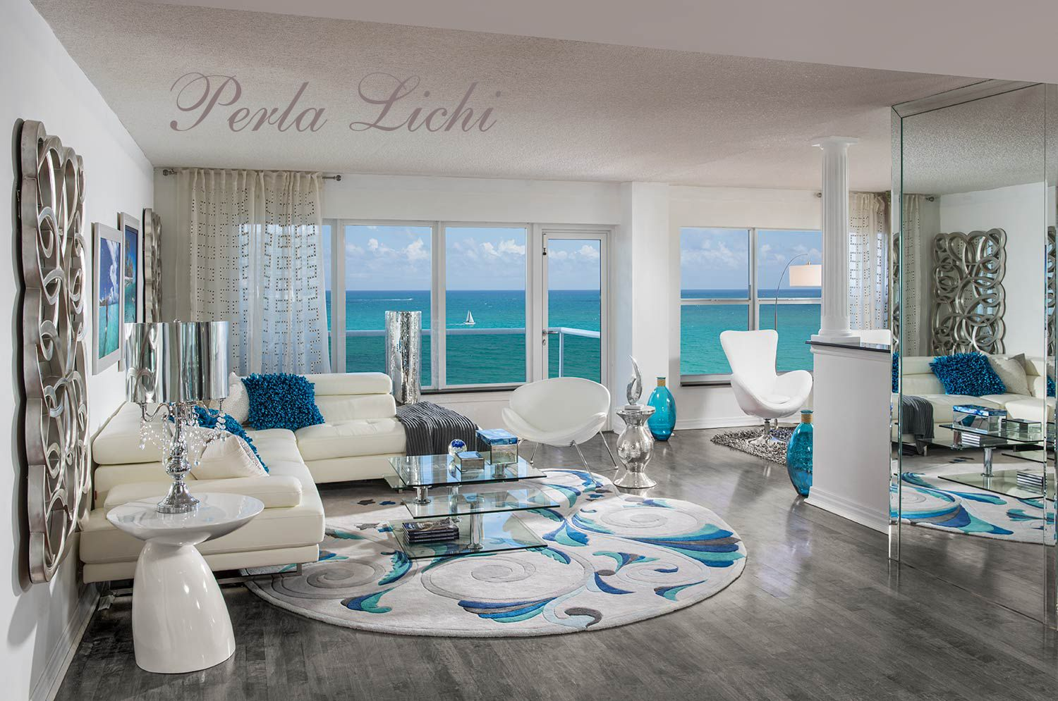 Living room with ocean view Luxury interior decorating