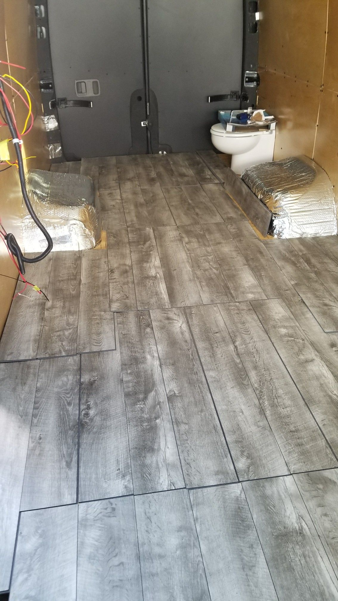 Snap And Click Washed Oak Flooring In Sprinter Van Conversion