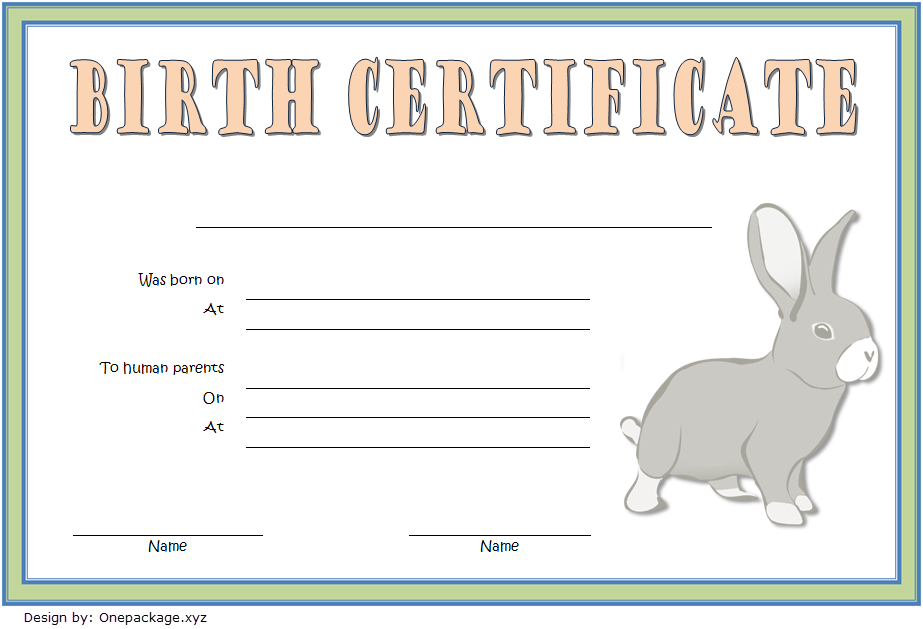 if you want a simple design  then this birth certificate template for rabbit free 2 is the right