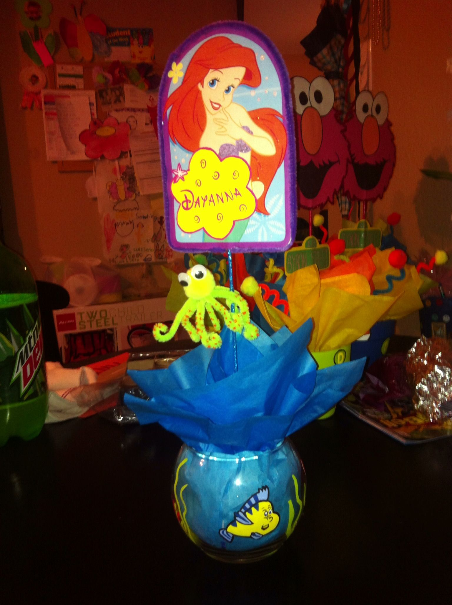 Little mermaid centerpieces hand painted