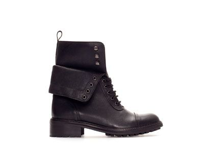 ZARA - TRF - LEATHER ANKLE BOOT WITH TURN-OVER FLAP