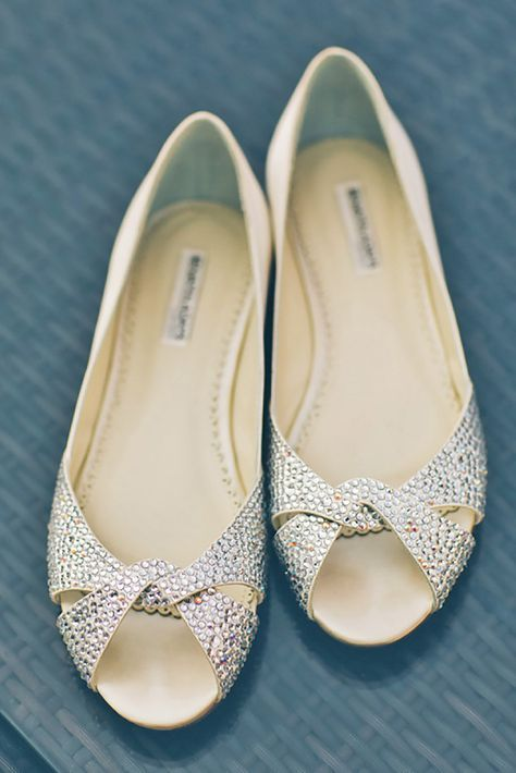Flache Brautschuhe Hochzeitsschuhe Elegant Peep Toes Mit