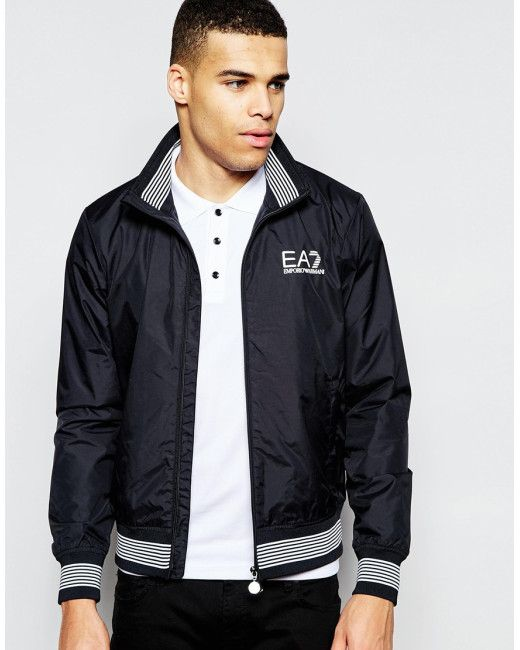 af49e95b6 EA7 | Black Emporio Armani Bomber Jacket With Chest Logo for Men | Lyst