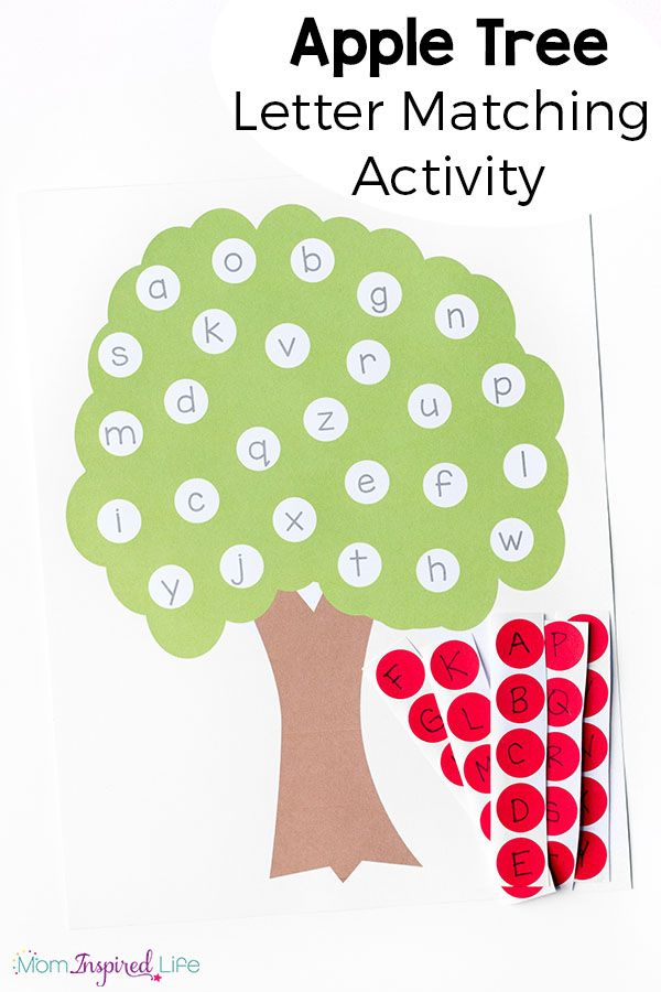 letter matching apple tree apple tree and apples With games to learn letters preschool
