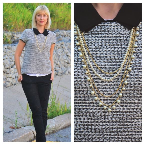 d9a83d88 Loft black and white bouclè top Gorgeous short sleeve top.Boucle with black  piping details and a back zip Gently worn as pictured.An awesome staple!