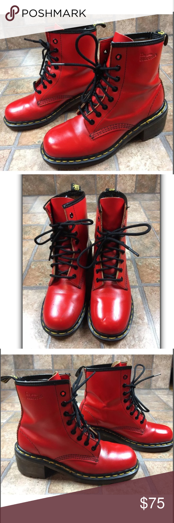 beec8609a5bc Dr. Martens Red Leather Combat Ankle Boots US 7