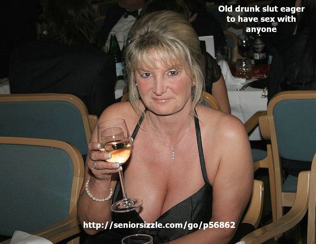 mature drunk woman in black v-neck evening dress with very large