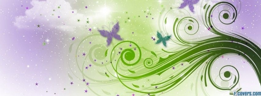 Purple And Green Floral Swirl Pattern Facebook Cover Timeline Banner For Fb Jpg 850 314 Butterfly Wallpaper Butterfly Background Abstract Wallpaper