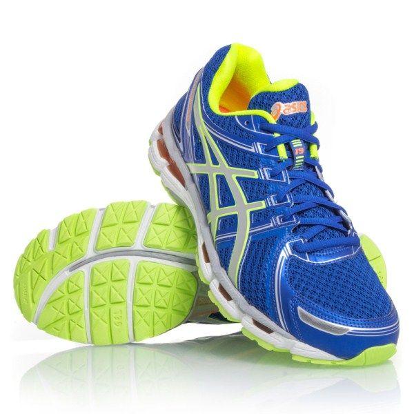 Asics Gel Kayano 19 Mens Running Shoes Blue White Neon Yellow