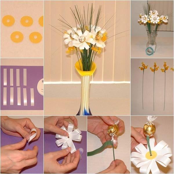 DIY Chocolate Ribbon Flower Bouquet | ♥ - Fun & Creative Food ...
