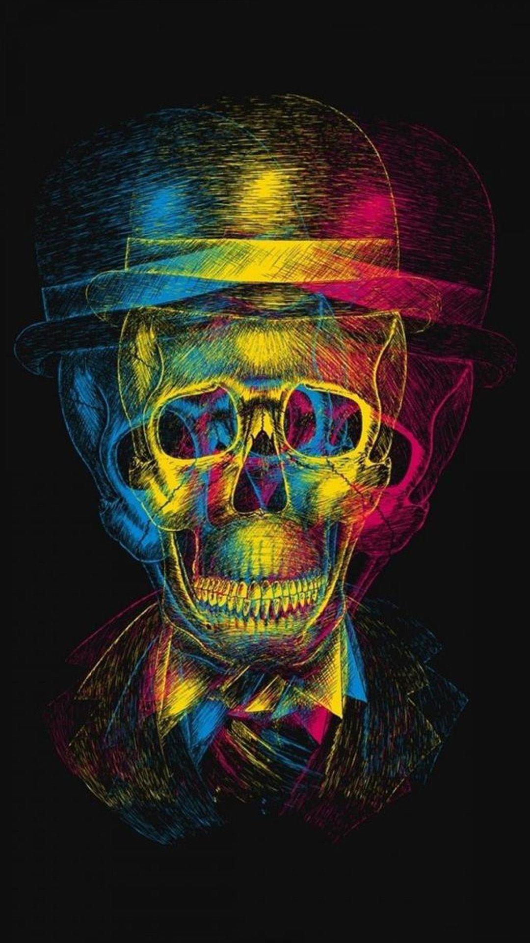 Colorful Overlap Skull In Hat Design Art iPhone 6 ...