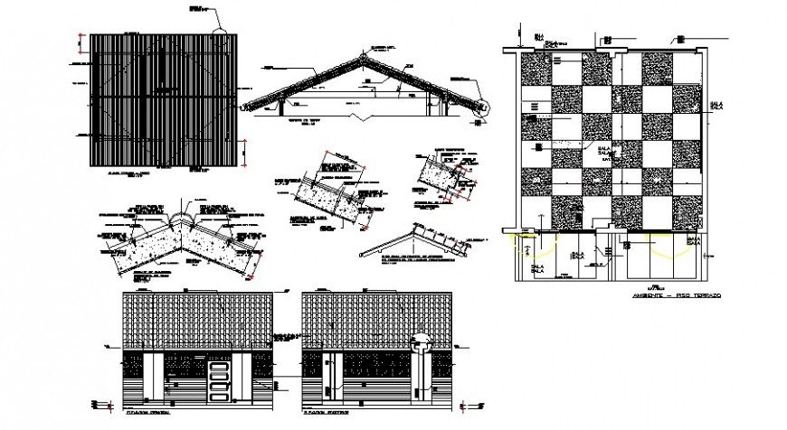 Classroom Elevation And Roof Construction Details Of School Building Dwg File Roof Construction School Building Building
