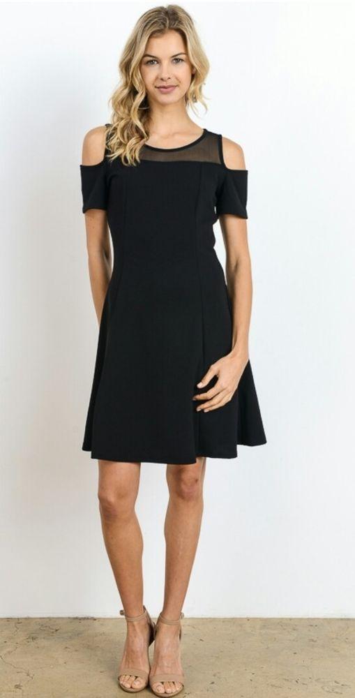 21557a3523 Gilli Dress Stitch Fix Black sheer Open Cold Shoulder L Large #Gilli #Shift  #Casual