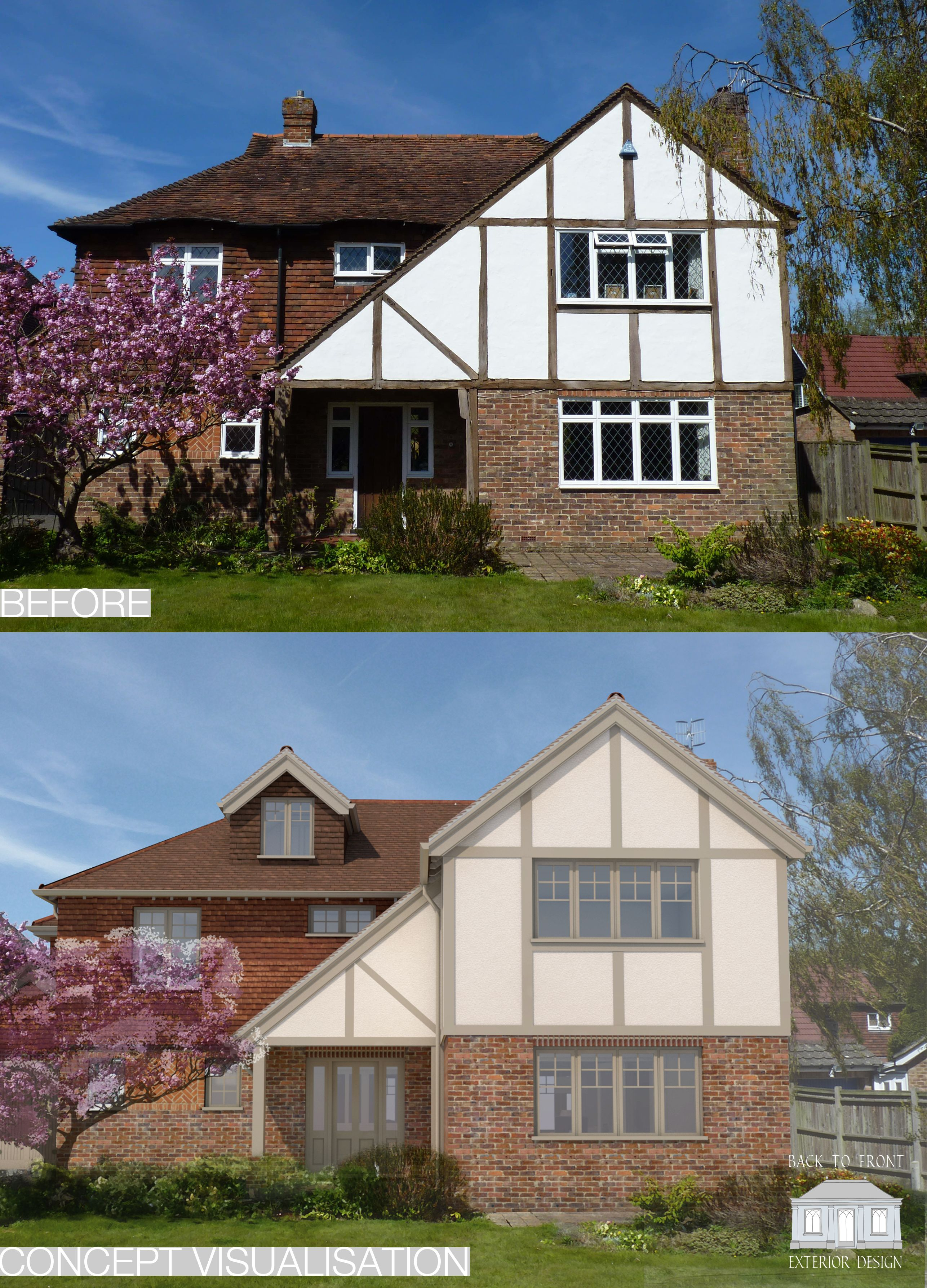 Back to front exterior remodelling scheme united kingdom - How to update a tudor style home exterior ...