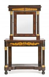 Consola con espejo fernandina en palma de caoba, palisandro y madera tallada y dorada, del primer cuarto del siglo XIX