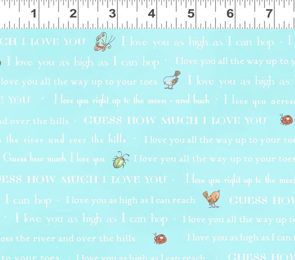 More  100/% Cotton Guess How Much I Love You Green with Polka Dots Fabric FQ