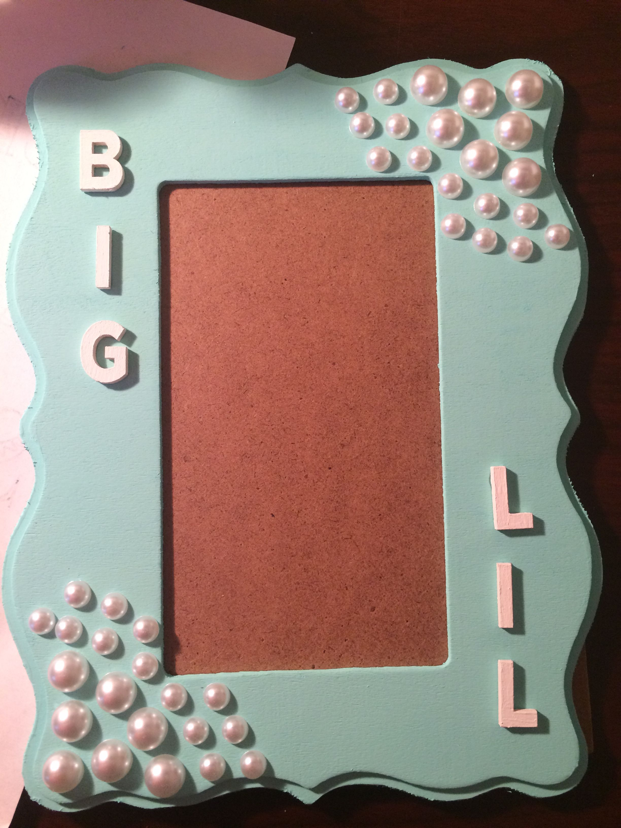 Big and Lil picture frame, Tiffany Blue with pearls, sorority, Gamma ...