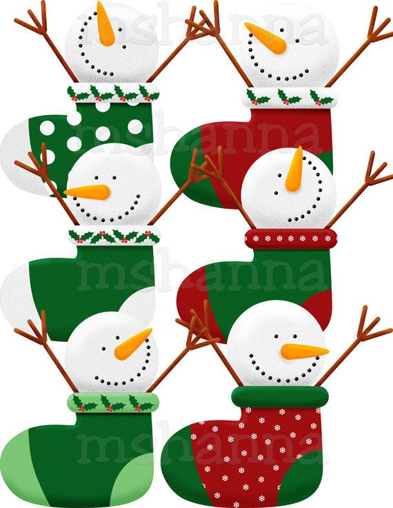 Christmas snowmen in stockings clip art clip art - Clipart bricolage ...