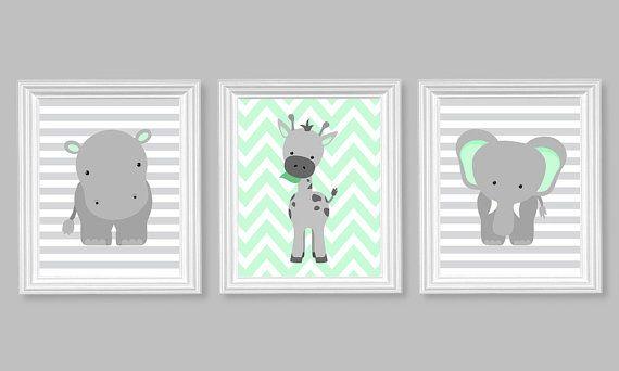 Zoo Nursery Decor Elephant Nursery Art Grey And Mint Baby Nursery