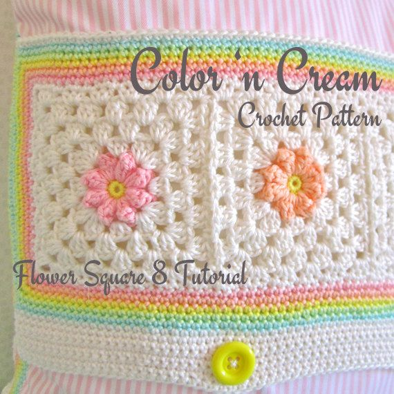 Crochet Pattern Flower Square 8 Tutorial ENGLISH on Etsy, $4.99