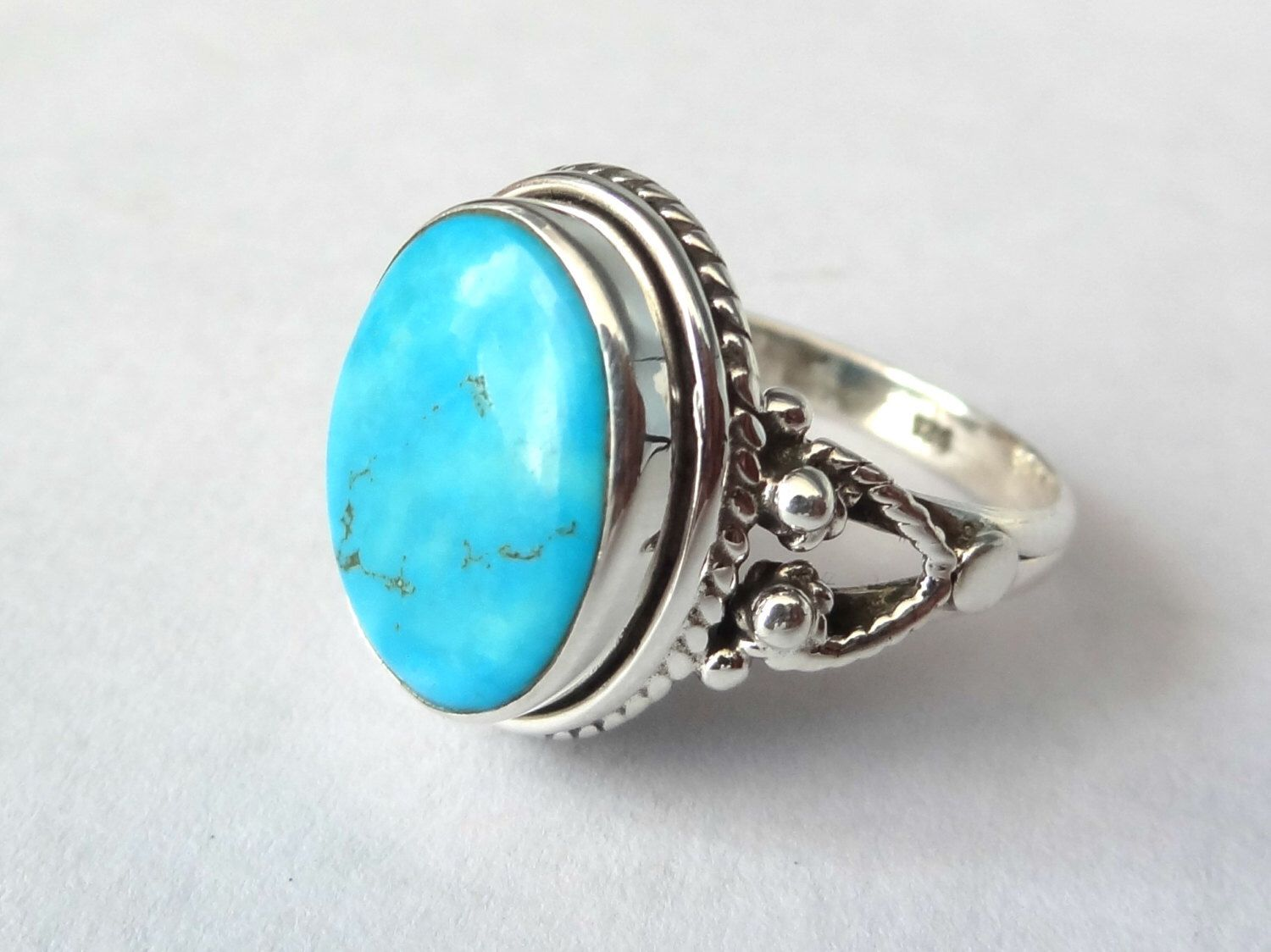 Turquoise ring, silver ring, 92.5 solid sterling silver ring, Natural Turquoise Silver Ring, 92.5% sterling silver (custom size, your size) by SterlingSilverVenue on Etsy https://www.etsy.com/listing/398509691/turquoise-ring-silver-ring-925-solid
