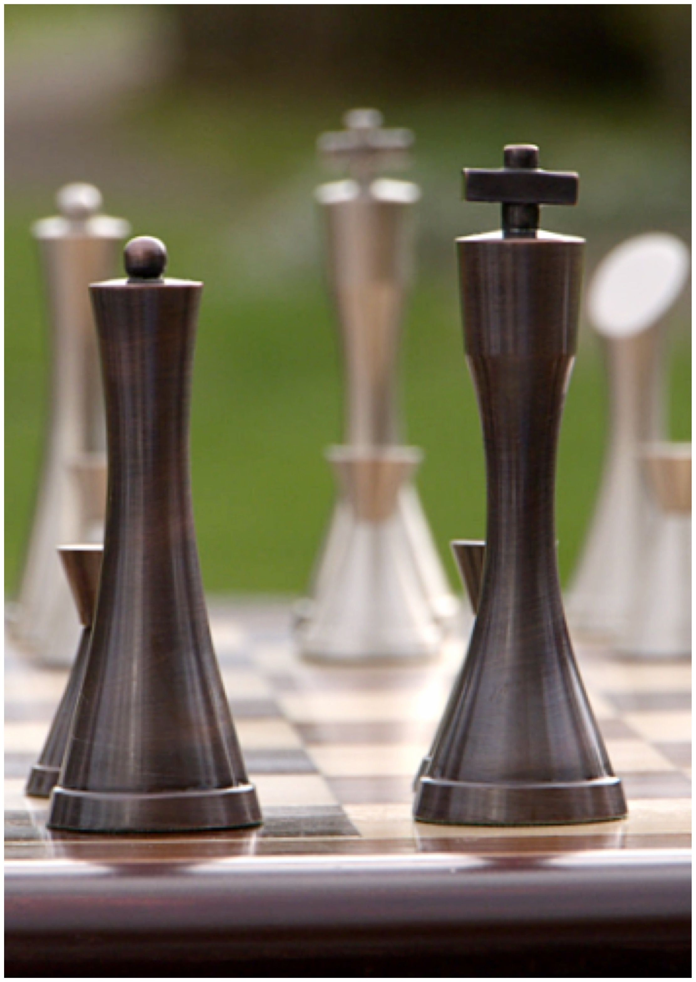 Contemporary Chess Set Stunning Yves Tanguy Contemporary Heavy Pewter And Copper Chess
