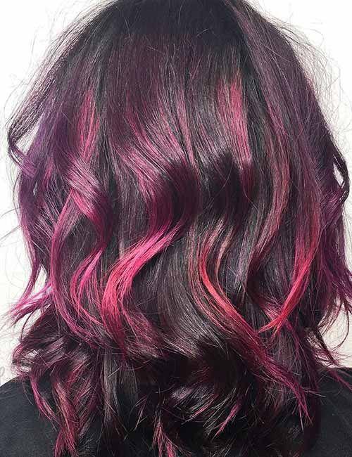 20 Pretty Purple Highlights Ideas For Dark Hair Purple Highlights