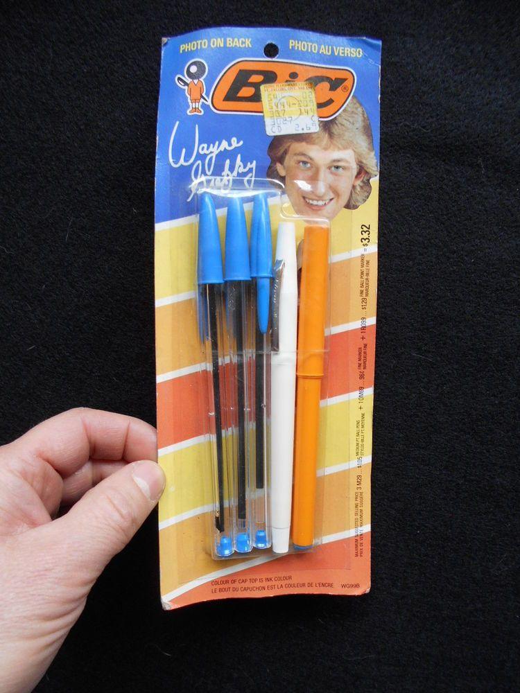 rare 1980's wayne gretzky bic 5 pen marker roller set