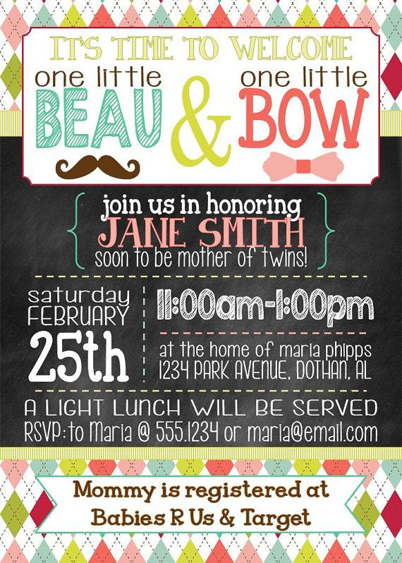 twin baby shower invitation beau bow boy girl twin baby shower