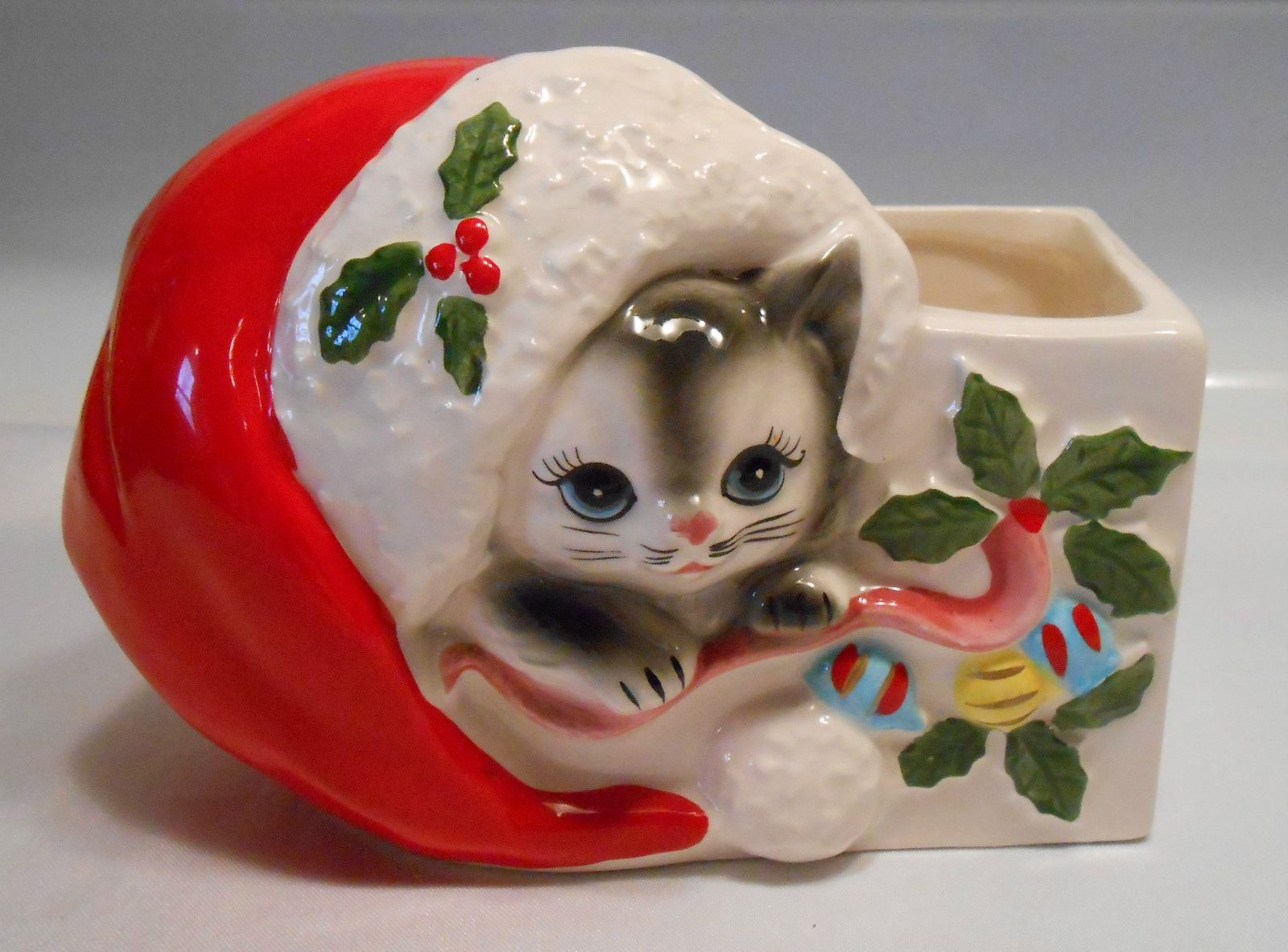 Vintage 50's Kitty Cat Christmas Planter
