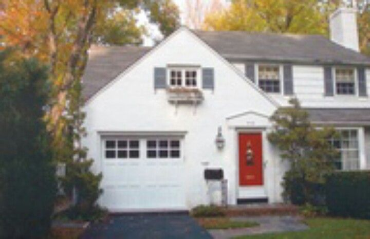 White House Grey Shutters Red Door Love It