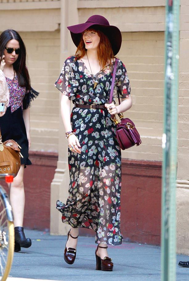A very happy and hippy Florence Welch out shopping in NYC THE SHOES ARE NEARLY GOOD ENOUGH FOR WALKING. The real Elizabeth Maxey called Lizzie.