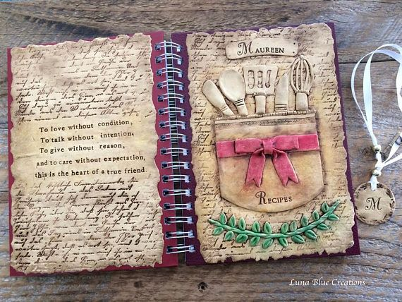 Personalized Recipe Journal Spiral Bound Journal Luna Blue Gifts - recipe journals