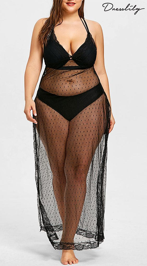 b9f012b24ba9c Plus Size Sheer Slit Long Cover Up. Buy New Swimwear ...