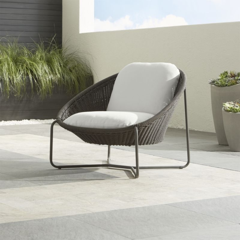 Morocco Graphite Oval Lounge Chair With White Cushion Crate And