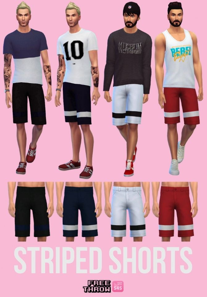 Striped shorts at CC-freethrow via Sims 4 Updates