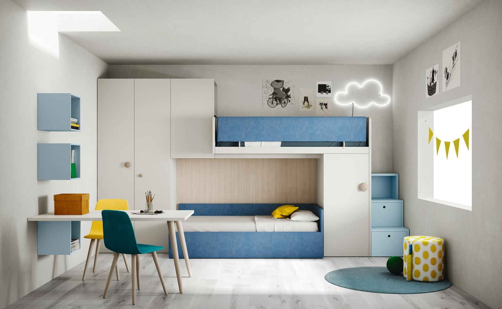 Cameretta moderna design componibile su misura per bambini for Letti a castello per 3 bambini