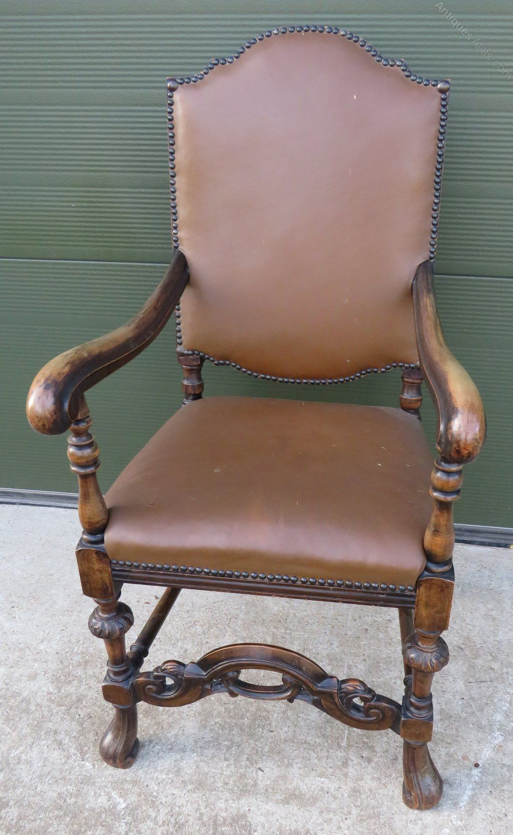 Oak Framed Leather Upholstered Armchair Antique Wooden Chairs