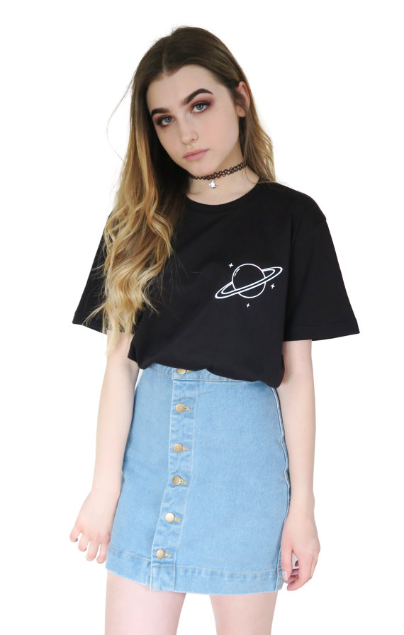 31d09865fe0ff4 Saturn Planet T-shirt Tumblr Inspired Pastel Pale Grunge Aesthetic Space  Alien Galaxy Tee