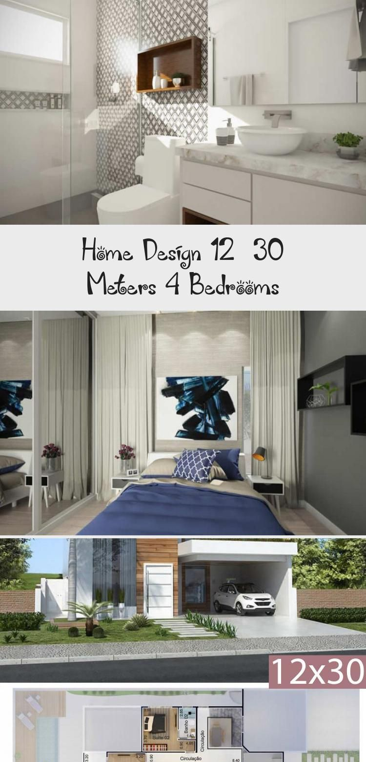 Home Design 12x30 Meters 4 Bedrooms Home Design With Plansearch Modernhousesexterior Modernhousesarchitecture Modernhouse In 2020 House Design Modern House Design