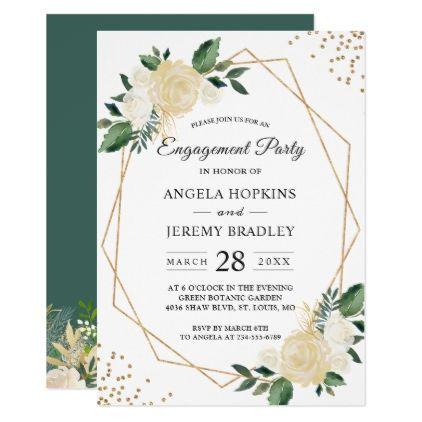 Emerald Green Floral Gold Frame Engagement Party Card Engagement - engagement invitation template