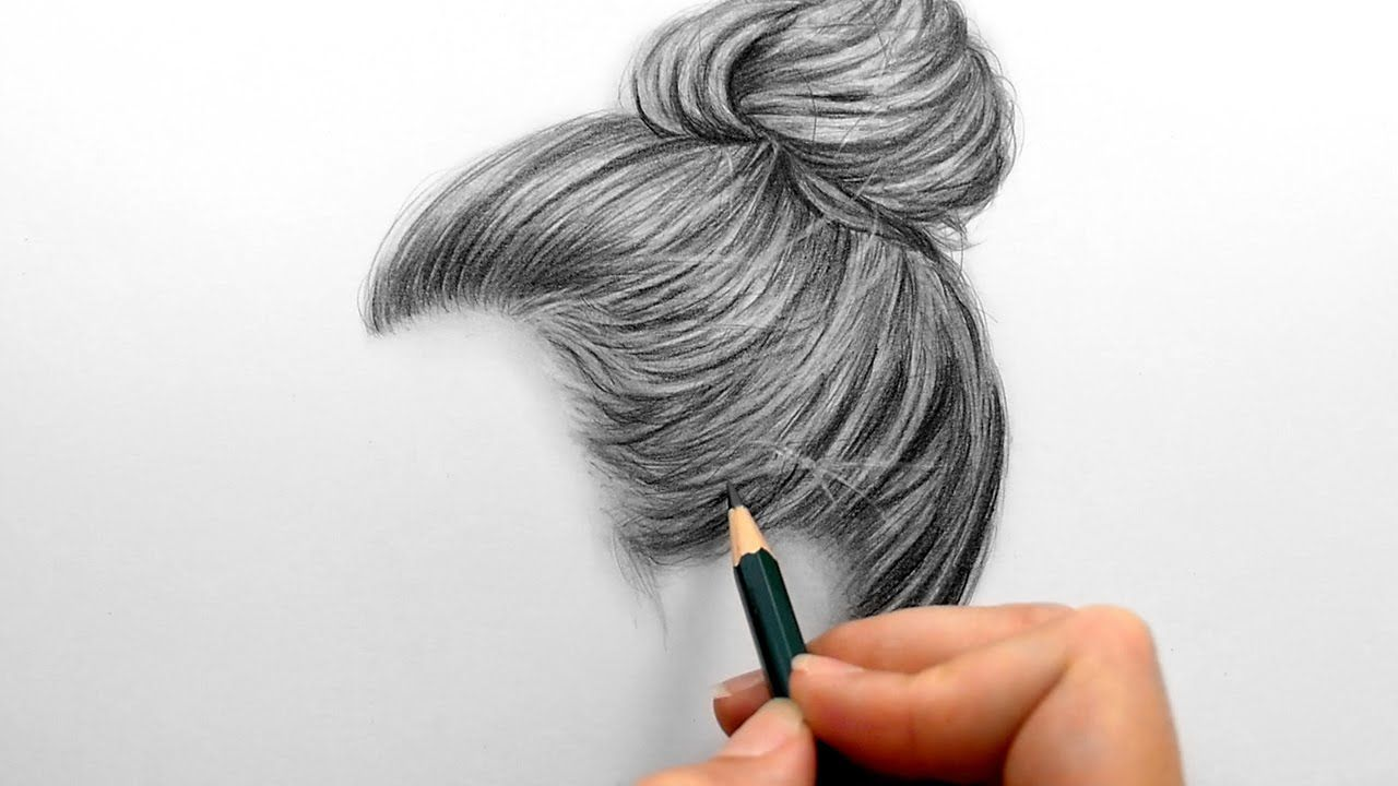 Timelapse Drawing Shading Realistic Hair Bun With Graphite Pencils How To Draw Hair Drawings Pencil Drawings Of Flowers