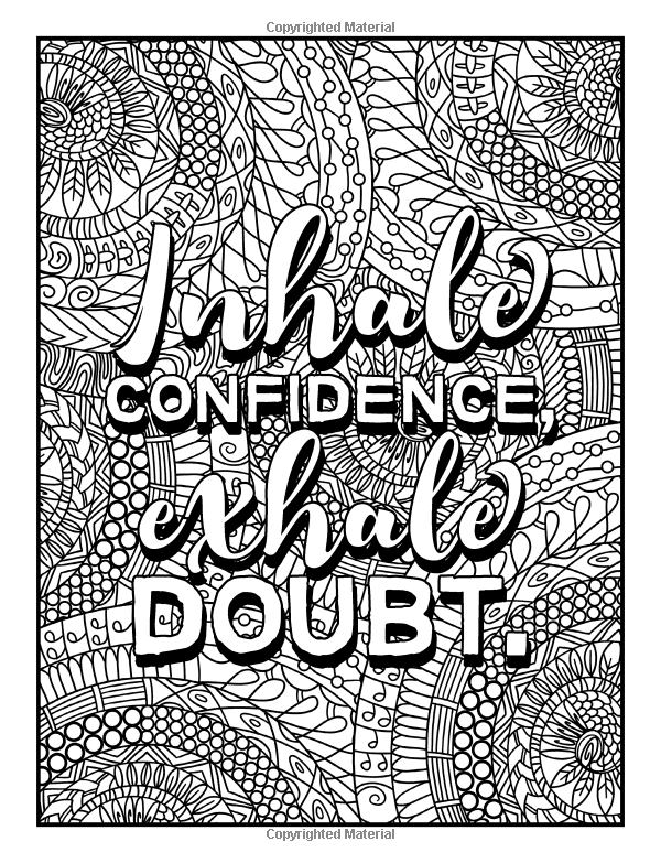 I Inhale Confidence Exhale Doubt Coloring Page Words Coloring Book Quote Coloring Pages Love Coloring Pages