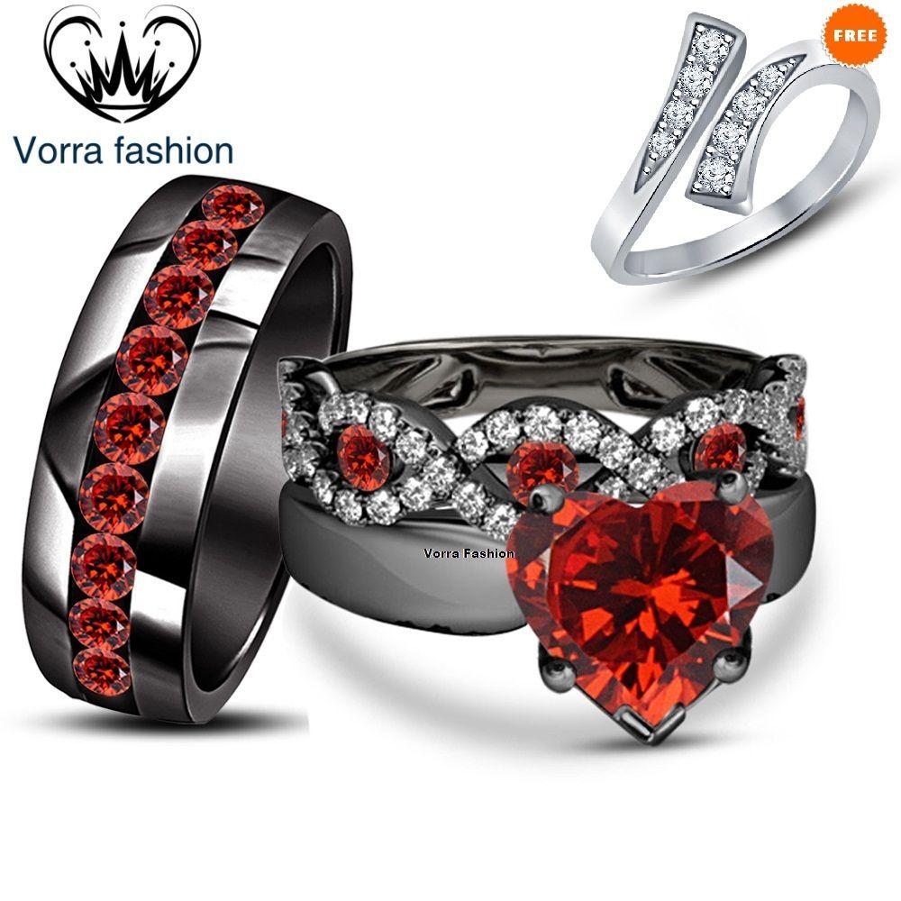 Engagement Ring Wedding Band Trio Set Heart Shape Red Garnet Black