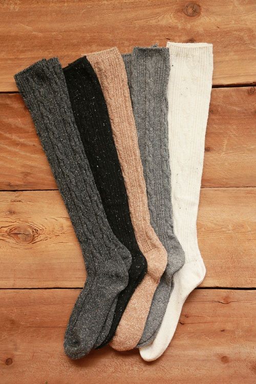 bb4934b1b180d Wool Blend Cable Knit Knee High Socks - Beige, Black, Charcoal, Grey, Ivory