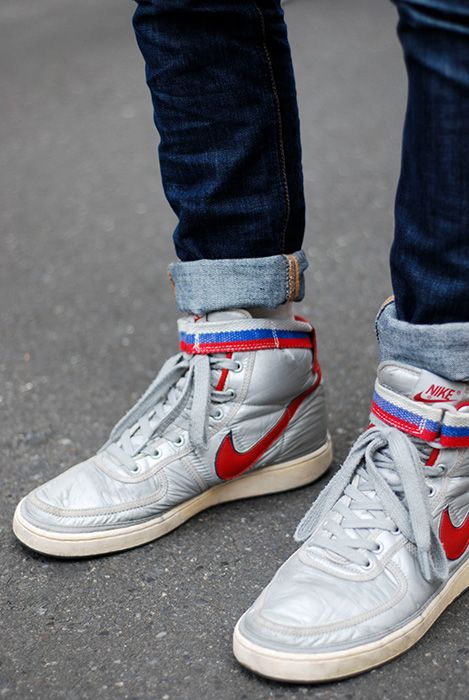 buy popular d6c5d 28496 High tops. Rolled pants. | Wearables. | Nike mag, Vintage nike, Sneakers