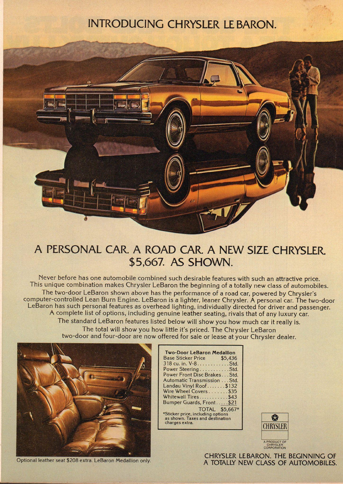 1977 Chrysler Le Baron Advertisement Motor Trend June 1977 Classic Chevy Trucks Vintage Cars Chrysler Cars